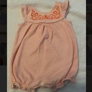 Gymboree orange dot and embroidered floral romper